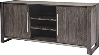 Furniture Chadoni Dining Room Server - Contemporary - Sliding Doors - Smoky Gray Finish Home Office Commerial Heavy Duty Strong Décor