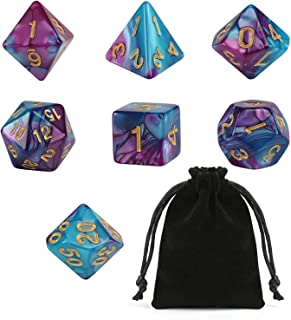 GWHOLE 7 PCS Polyhedral Dice Set Dungeons and Dragons Table Game Dice for D&D, DND, GRP with Black Pouch, Purple Blue