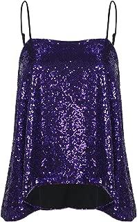 VERO VIVA Women's Sparkly Sequin Tank Tops Spaghetti Strap Shimmer Fit Club Vest