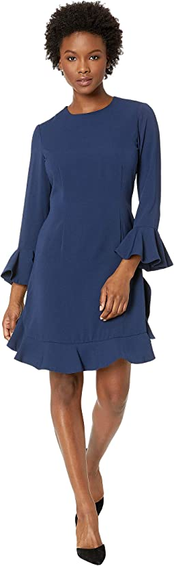 Crepe Short Dress with Bell Long Sleeves
