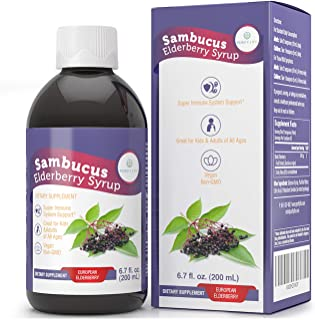 Elderberry Syrup for Kids & Adults [Triple Strength - 3950mg] Immune System Support with Organic Sambucus L...