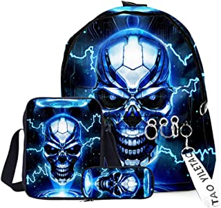 3D Skull Bone Print Backpack Bookbags Set for Child Girls Boys Anime Bookbag Schoolbag with Insulated Shoulder Bag Pencil ...