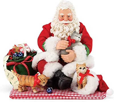 Department 56 Possible Dreams Santa and his Pets Christmas Kitties Figurine, 8 Inch, Multicolor