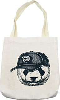 Lunarable Vintage Dude Tote Bag, Hipster Panda Furry with a Cool Dude Hat on His Head, Cloth Linen Reusable Bag for Shopping Books Beach and More, 16.5
