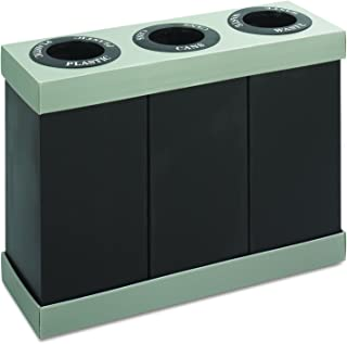 Safco Products At-Your-Disposal Triple Recycling Center , Black, Impact and Water Resistant, Three 28 Gallon Bins
