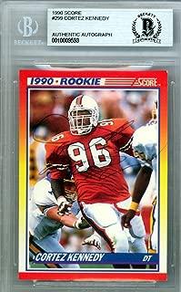Cortez Kennedy Autographed 1990 Score Rookie Card #299 Seattle Seahawks Beckett BAS #10009593