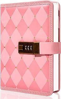 دفتر خاطرات با قفل برای دختران زنان چرم قفل شده مجلات B6 رمز عبور مجله با ترکیبی از قفل خاطرات قفل قابل پر شدن مجدد با دارنده قلم 5.5x7.8 اینچ ، صورتی