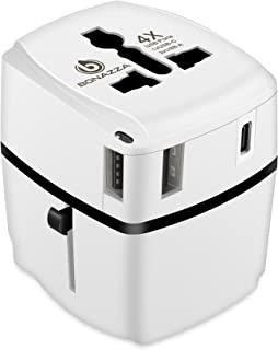 Universal International Travel Adapter Kit with 4Amps 4 USB Ports - UK, US, AU, Europe All in One Plug Adapter - Over 150 Countries & USB Power Adapter for iPhone, Android, All USB Devices (White 3USB+1TypeC)