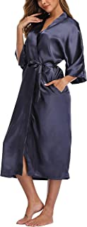 navy blue satin dressing gown