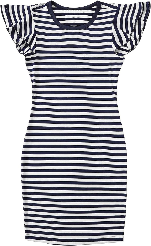 Floerns Women's Plus Size Striped Print Flounce Sleeve Bodycon Mini Dress