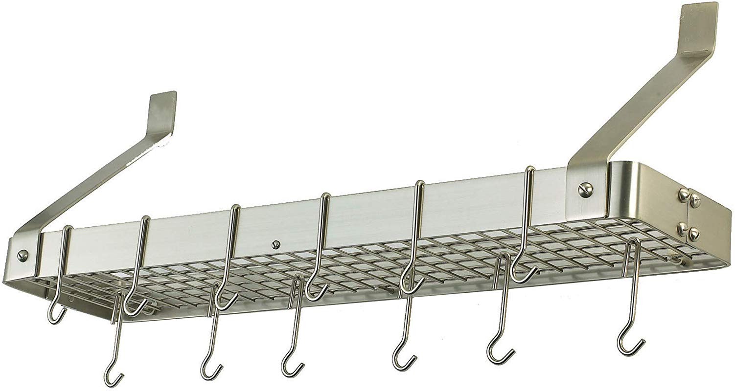 MISC 12 Hooks Pot Rack Wall Mounted Hanging Organizer For Pans Kitchen Cookware Holder Steel Satin Nickel