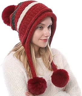 CHORADE Winter Slouchy Knit BeanieHatsforWomen Christmas Warm Skull Ski Cap Chunky Baggy Hat with Faux Fur Pompom