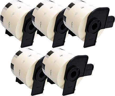Cinta continua de papel para impresoras de etiquetas Brother color blanco 12 mm x 30.48 m, 5 rollos Prestige Cartridge DK-22214