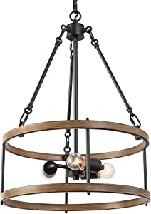 """ISURAUL Farmhouses Chandelier for Dining Rooms, 16"""" 3-Lights Farmhouse Lighting for Living Room and Entryway"""