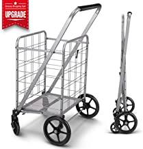 Newly Released Grocery Utility Flat Folding Shopping Cart with 360° Rolling Swivel..