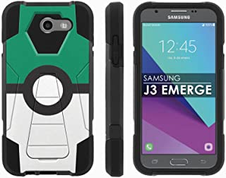 Samsung Galaxy J3 Emerge [2017] Mil-Spec [Mobiflare] [Black/Black] Dual Layer Armor Case [Kickstand] [Screen Protector] - [Green Pokeball] for Galaxy [2017] [J3 Emerge] [5
