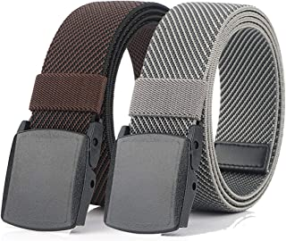 Hoanan 2 Pack Elastic Stretch Belt for Men, Nickle Free Hiking Nylon Belt in YKK Buckle up to 56 Inches (Pant size up to 4...