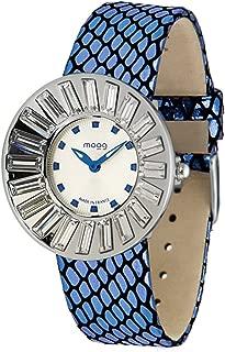 Moog Paris Sunshine Women's Watch with Black/White/Silver/Brown Dial, Black/Red/Silver/Brown/White/Blue Genuine Leather Strap & Swarovski Elements