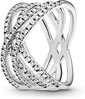 Pandora Jewelry - Entwined Lines Ring for Women in Sterling Silver with Clear Cubic Zirconia