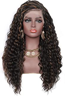 """Beauart 26"""" Top Side Pre-Braided Swiss Lace Front Wigs with Baby Hair for Women Water Ripple Wave Curly Heat Resistant Syn..."""