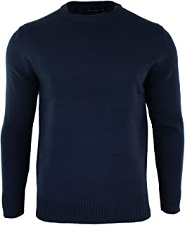 acf84b3849c Mens Plain Round Neck Light Weight Knitted Jumper Top Pullover Grey Blue  Navy Red Black