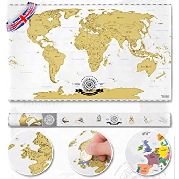 Scrape Off World Map Deluxe XXL 82 x 45 cm - Personalized Travel Map Poster XXL Wall Decoration