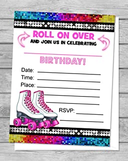 Rollerskates Fill In Blank Invitations, Flat Cards, Set Of 20, Pink Roller Skates Birthday Party Invitations With Envelopes, Skating Party, Flat Card Invitations, 4.25