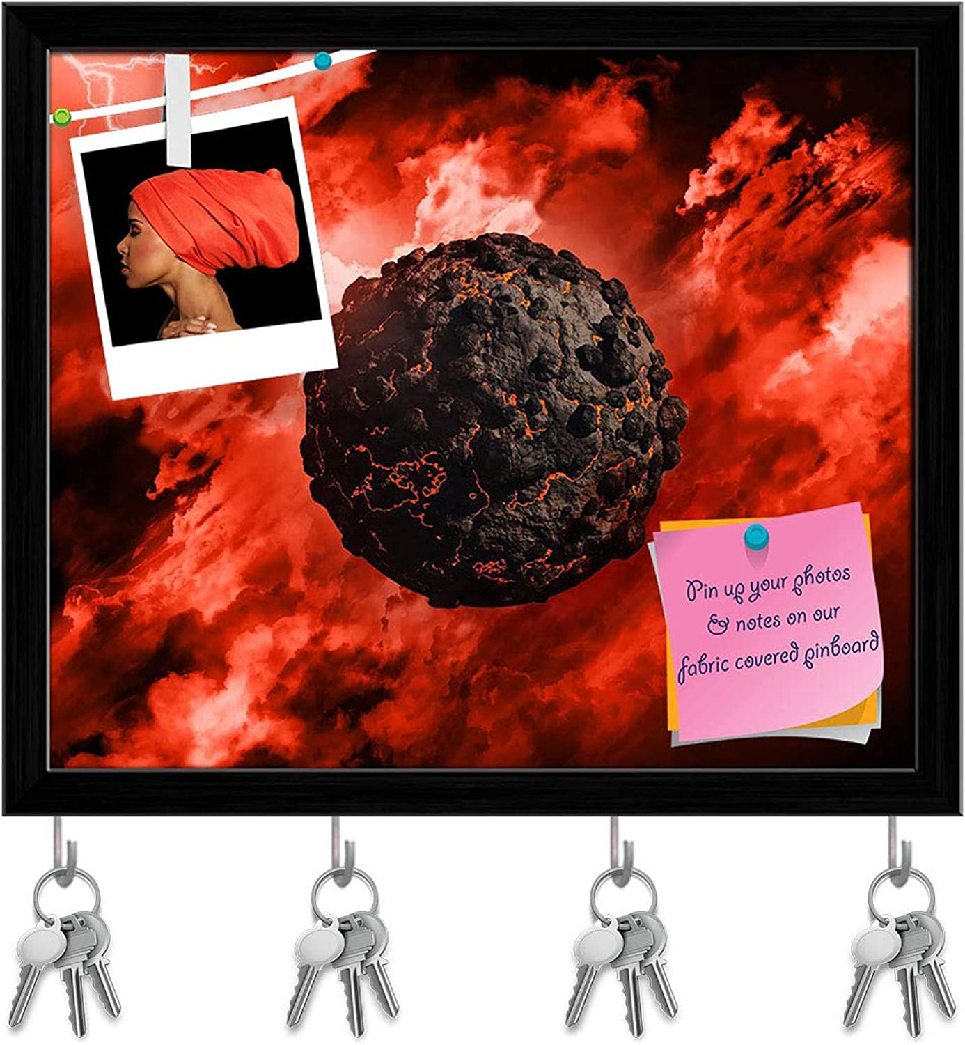 Artzfolio Volcanic Globe with in A Stormy Sky Key Holder Hooks   Notice Pin Board   Black Frame 19.1 X 16Inch