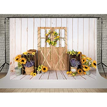 7x10 FT Country Vinyl Photography Backdrop,Window Shutters with Colorful Flowers and Plants in Medieval Style Image Print Background for Party Home Decor Outdoorsy Theme Shoot Props