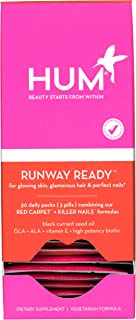 HUM Runway Ready Set - Support Strong Hair, Skin & Nails Supplement - Blend of Vegan Biotin, Black Currant Seed Oil & Sunf...