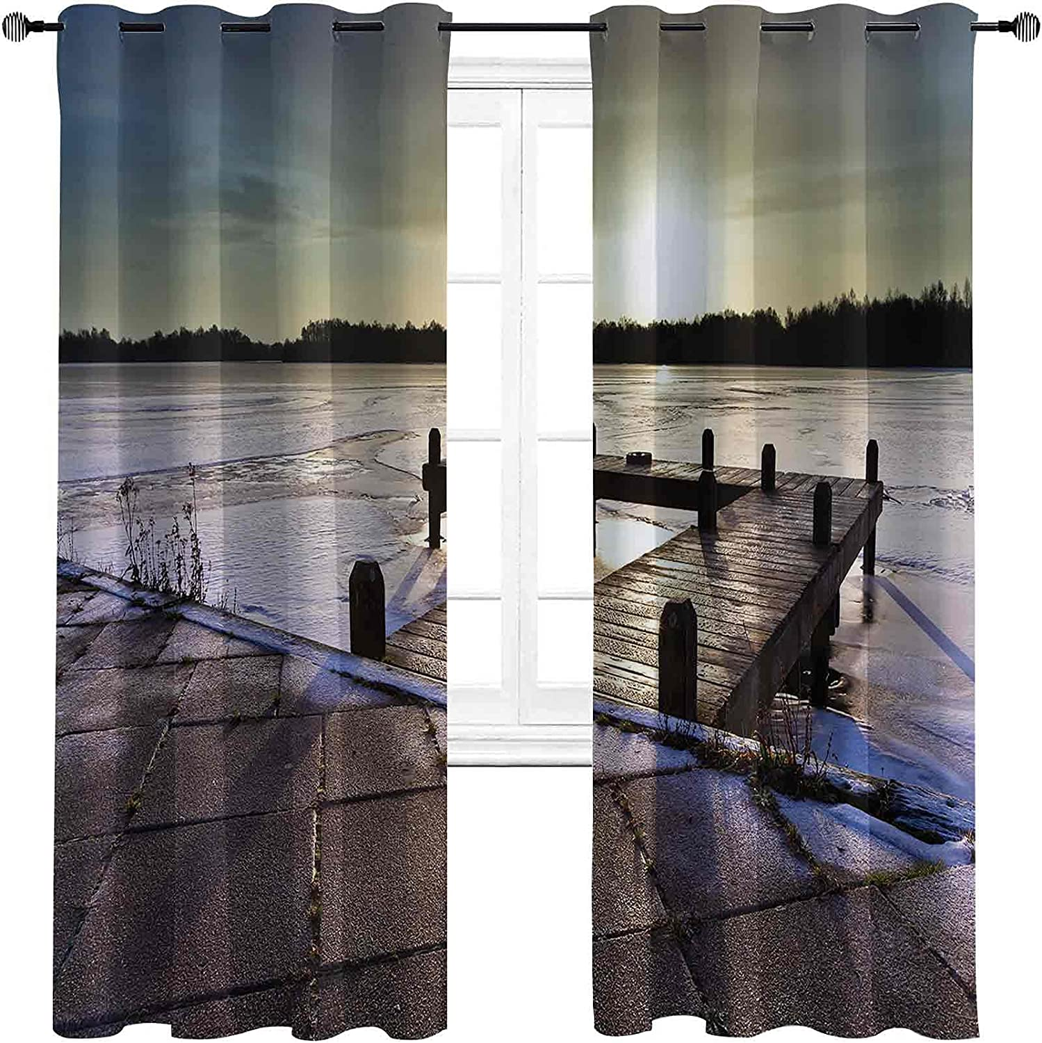 Winter Bedroom Blackout Curtains Sunrise a Above Jetty on Fro Max 87% OFF Regular discount