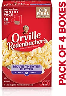Orville Redenbacher's Movie Theater Butter Microwave Popcorn, 3.29 Ounce Classic Bag, 18-Count, Pack of 4
