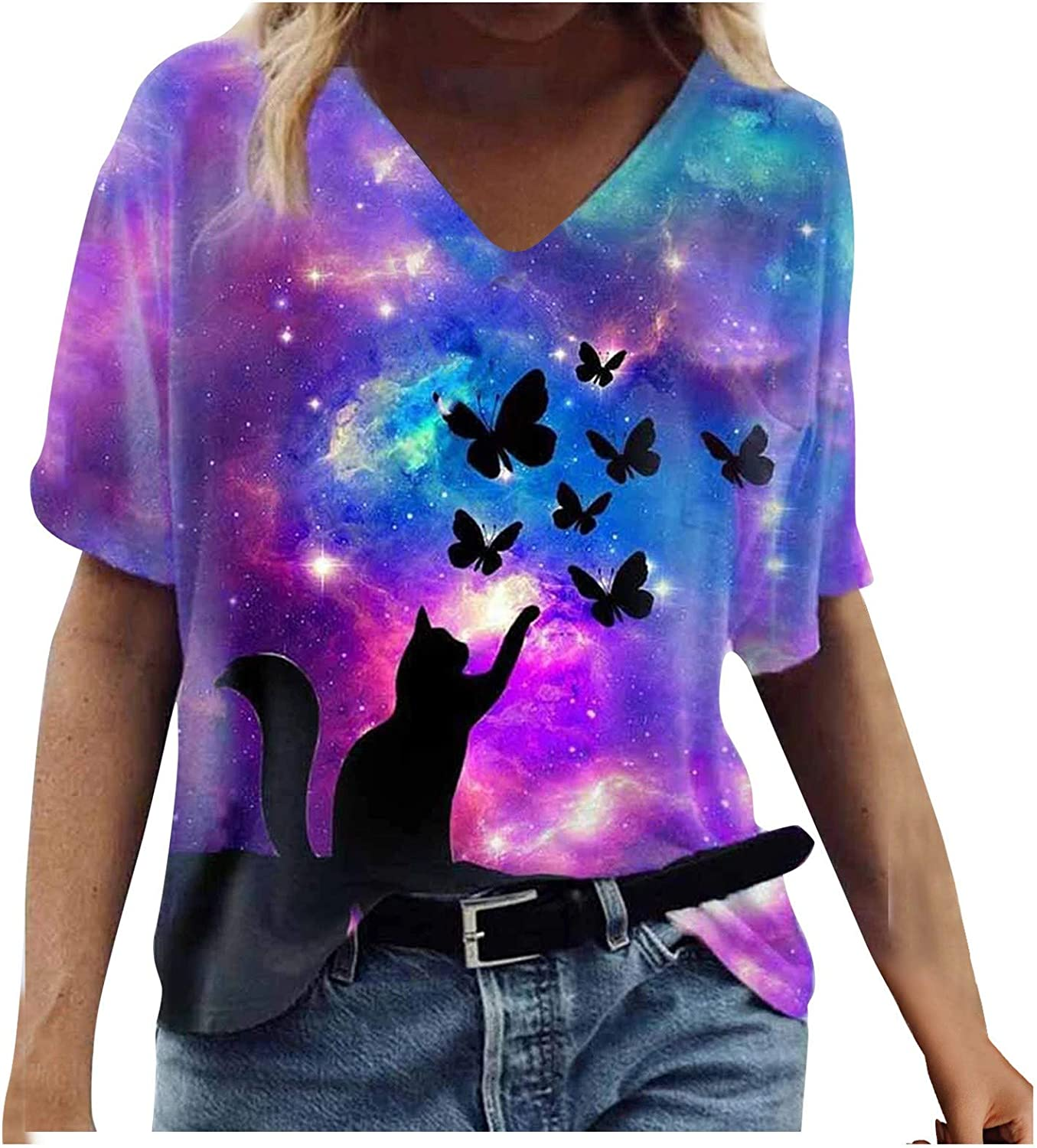 Fankle Plus Size Tie Dye Shirt for Women Short Sleeve 3D Graphic Tees Summer Casual V-Neck Tops Tee T-Shirt Blouse