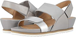 Silver Metallic Nappa/Light Grey Stretch Fabric/Light Grey Nappa