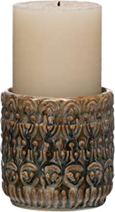 "Bloomingville 4"" H Embossed Stoneware Candleholder with Reactive Glaze Finish (Holds 3"" Pillar one Will Vary) Candle Holder, Beige"
