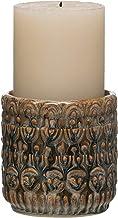 Bloomingville Castiçal de grés em relevo de 10,16 cm de altura com acabamento esmaltado reativo (comporta um pilar de 7,62...