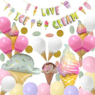 Ice Cream Party Decorations - Set of 62,Ice Cream Party Supplies with Ice Cream Banner,DIY Ice Cream Cone Balloons,Circle Dots Garland,Ice Cream Mylar Balloons,Pastel Balloons for Summer Girls Kids Birthday Party Baby Show Decorations