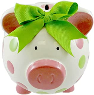 Burton & Burton Girls Pink & Green Circles Pig Piggy Bank Green Bow Ceramic Personalized Baby Nursery Decor
