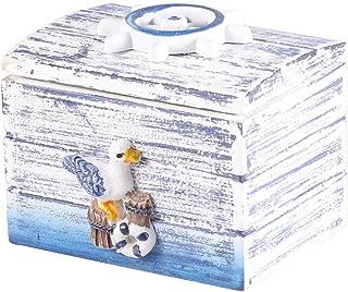 Vosarea Wooden Storage Box Desktop Wooden Box Jewelry Sundries Case Organizer Gift Box Candy Box Nautical Beach Theme Decor (Seagull Pattern)