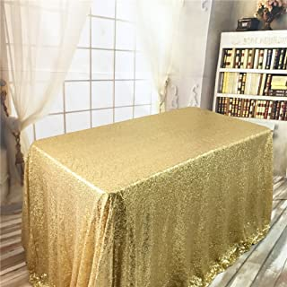 BalsaCircle TRLYC 60 by 102-Inch Seamless Rectangle Sequin Tablecloth Gold for Wedding Happy New Year