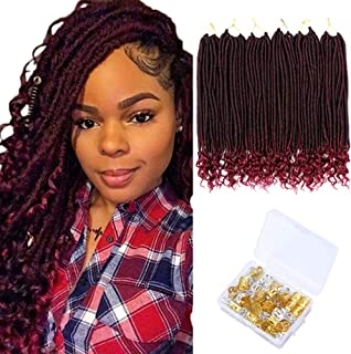 6 Pack Straight Faux Locs Crochet Hair Braiding Hair with Curly End Soft Dreadlocks Crochet Hair Braids Synthetic Hair Extensions (20 Inches, 1B/BUG#)