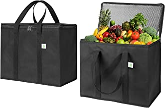 2 Pack Insulated Reusable Grocery Bag by VENO, Durable, Heavy Duty, Extra Large Size, Stands Upright, Collapsible, Sturdy ...