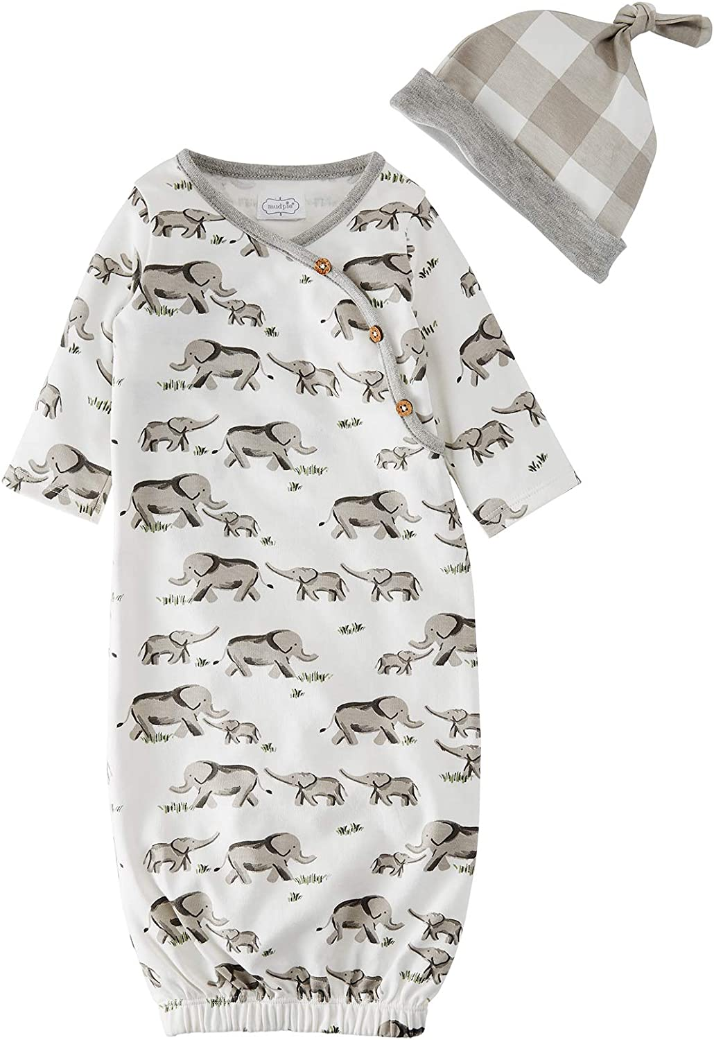 Mud Pie Baby Boys' Elephant Gown and HAT, Gray, 0-3 Months