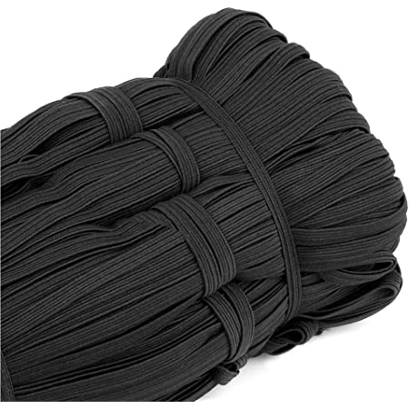 Braided Elastic Bands for Sewing 1//4 inch Black Elastic Cord for Sewing 30-Yards Material for Sewing Flat Elastic Cord Elastic Rope