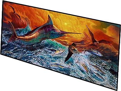 Caroline's Treasures Reflective Chaos Blue Marlin Indoor or Outdoor Runner Mat 28x58 doormats, Multicolor