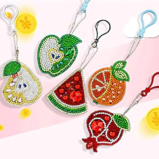 5D DIY Fruit Diamond Painting Kits 5 Pieces for Kids and Adult,Full Drill Stick Paint with Diamonds by Numbers Easy to DIY Keychain Pendant Kits for DIY Art Craft Charm Bag Decor Ross Beauty