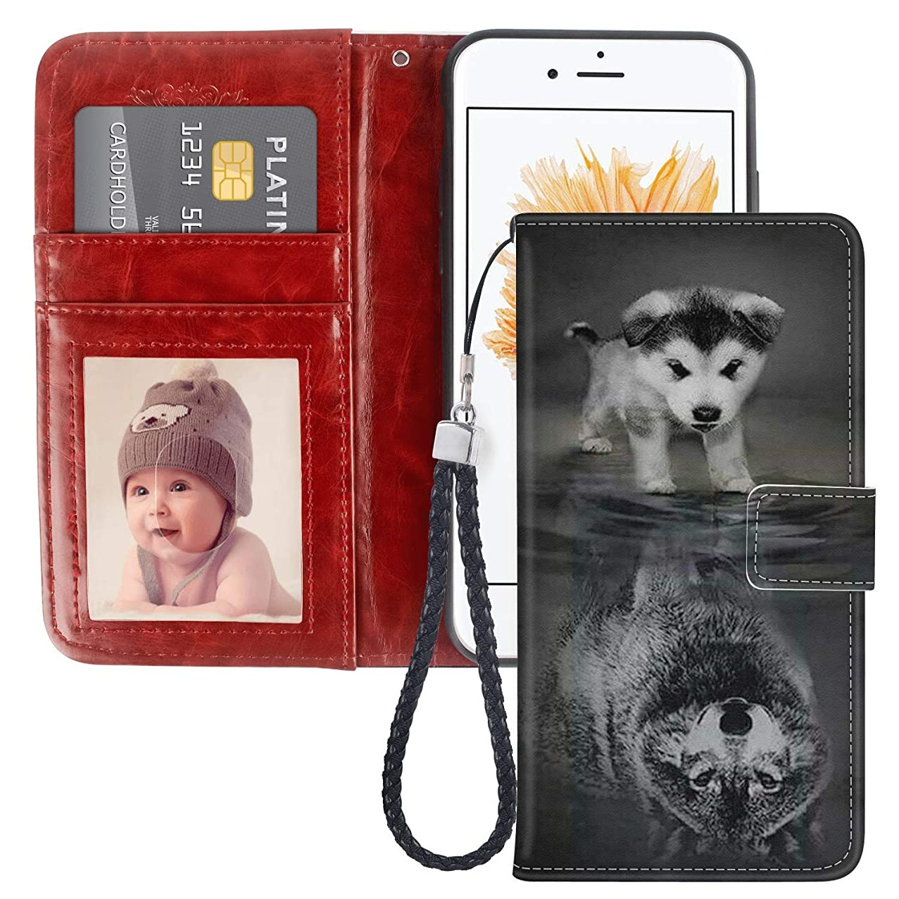 Dog Shadow iPhone 5 5S SE Wallet Case JQLOVE PU Leather Flip Magnetic Clasp Multi-Card Slot Wristlet Phone Case for iPhone 5 5S SE Dog Shadow