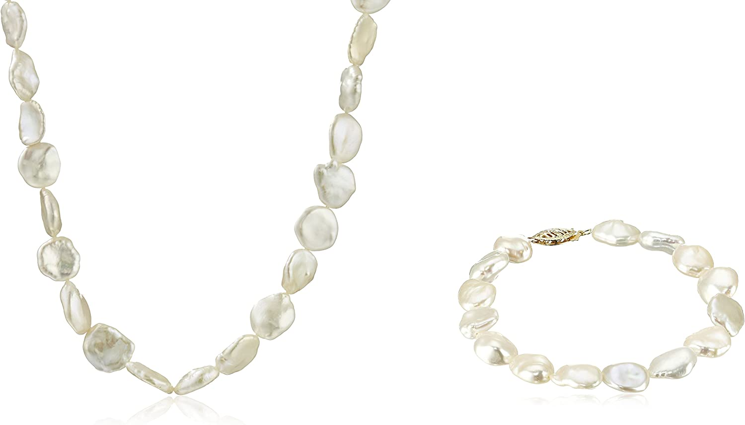 14k Yellow Gold 8x10mm White Keshi Cultured Freshwater Pearl Choker Necklace and Bracelet Jewelry Set