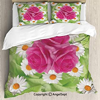 SfeatruAngel Luxe Bedding SetsMixture of Rose and Daisies with Warm Colors Purity Icons in Habitat Modern,Full Size,Microfiber 3 Piece Duvet Cover Set, Beding Set,Green Pink White