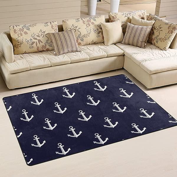 Sunlome Sea Style Nautical Anchor Area Rug Rugs Non Slip Indoor Outdoor Floor Mat Doormats For Home Decor 60 X 39 Inches
